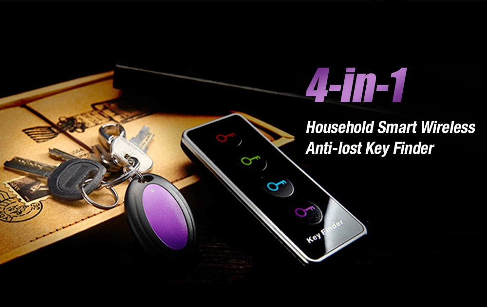 4-in-1 Household Smart Anti-Lost Wireless Key Finder for Pet, Phone, Wallet, Bag - Black