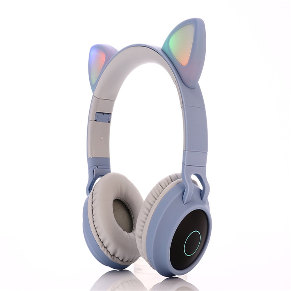 Wholesale BT028c Cat Ear Style Foldable Bluetooth 5.0 Headphones Kids Wireless Headset - Light Sky Blue
