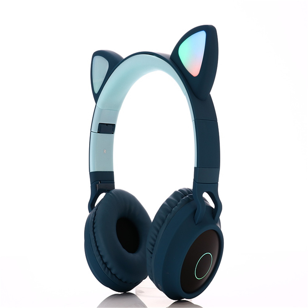 Wholesale BT028c Cat Ear Style Foldable Bluetooth 5.0 Headphones Kids Wireless Headset - Greenish Blue