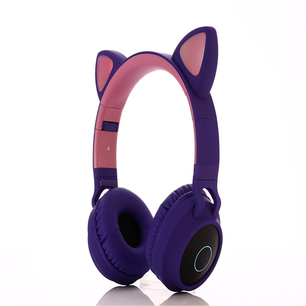 Wholesale BT028c Cat Ear Style Foldable Bluetooth 5.0 Headphones Kids Wireless Headset - Purple