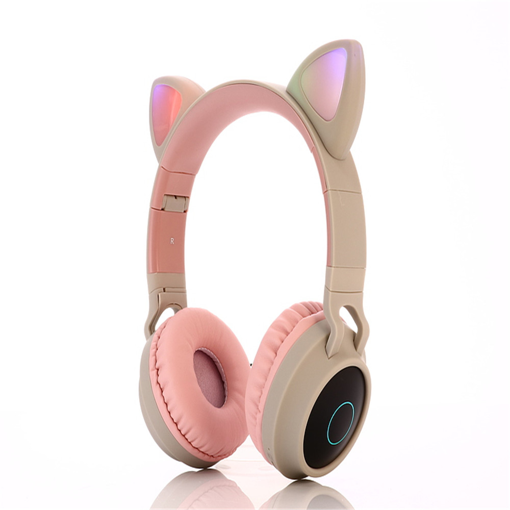 Wholesale BT028c Cat Ear Style Foldable Bluetooth 5.0 Headphones Kids Wire