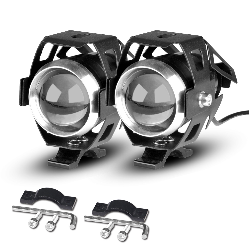 Wholesale U5 Motorcycle LED Spotlight Headlamp Pair with IP67 Waterproof and White Light - Black