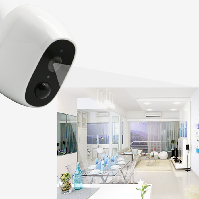 TD-S4-200W Outdoor 1080P Battery Powered Portable Security IP Camera with PIR Motion Detection, IP67 Waterproof - White