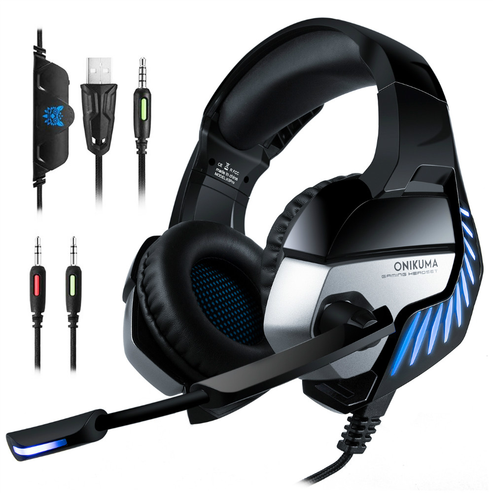 Wholesale ONIKUMA K5 PRO LED Surround Gaming Headphone with Microphone for PS4 / PC - Blue