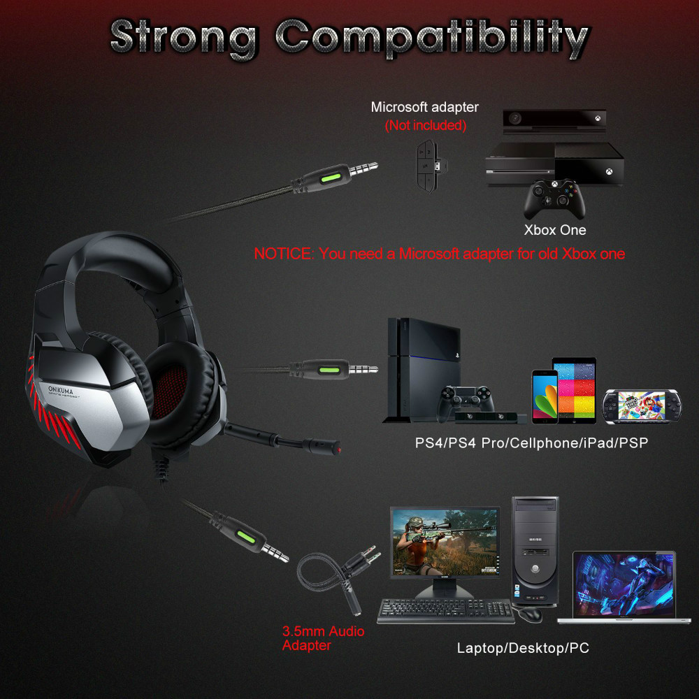 ONIKUMA K5 PRO LED Surround Gaming Headphone with Microphone for PS4 / PC - Blue