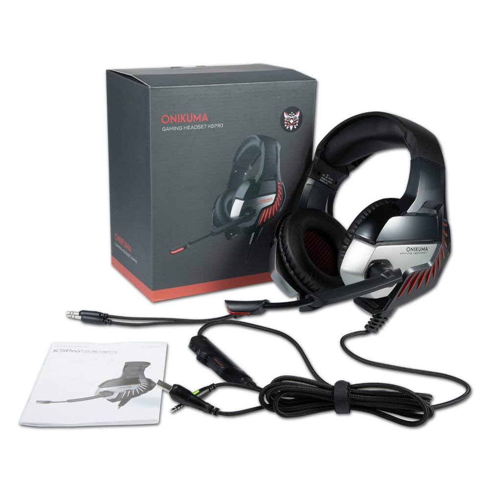ONIKUMA K5 PRO LED Surround Gaming Headphone with Microphone for PS4 / PC - Red