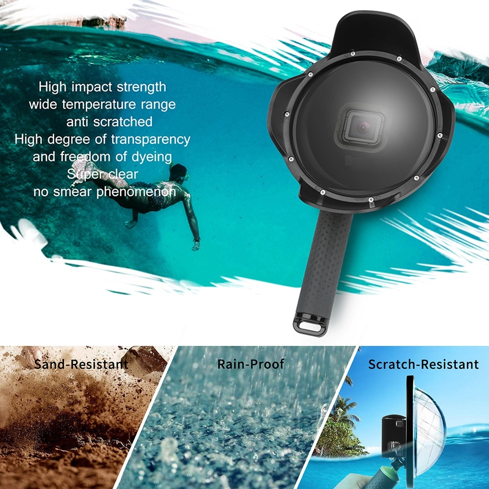 Lotus Fisheye Water Lens Cover Diving Cover Bracket Dome Port for GopPro Hero5/6/7- Black