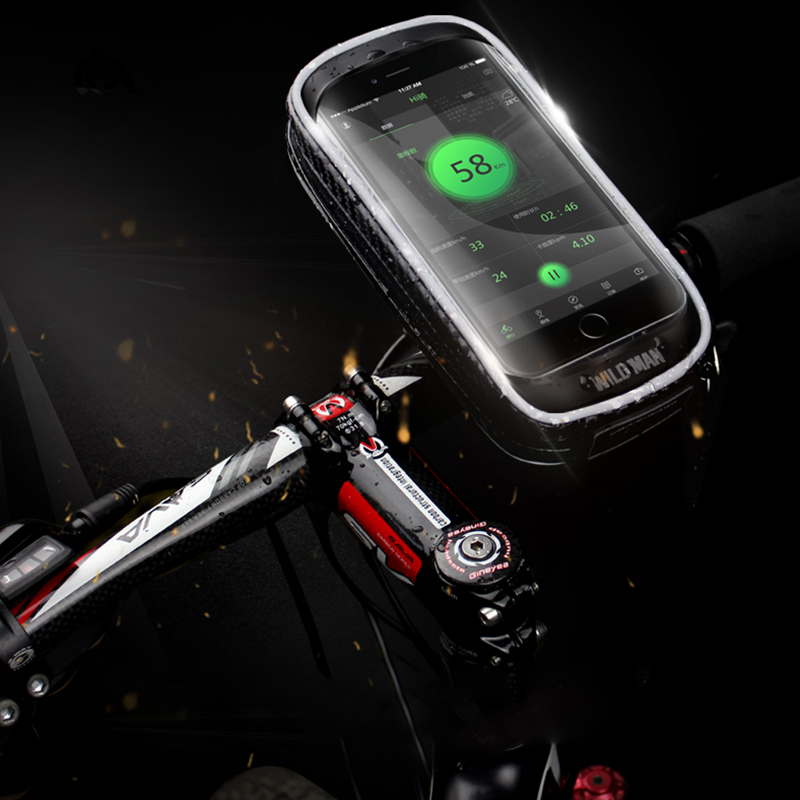 WILD MAN H16 Mountain Bicycle Bag Mobile Phone Cycling Touch Screen Holder for GPS Navigator (Black, 5.5 - 6 Inch)