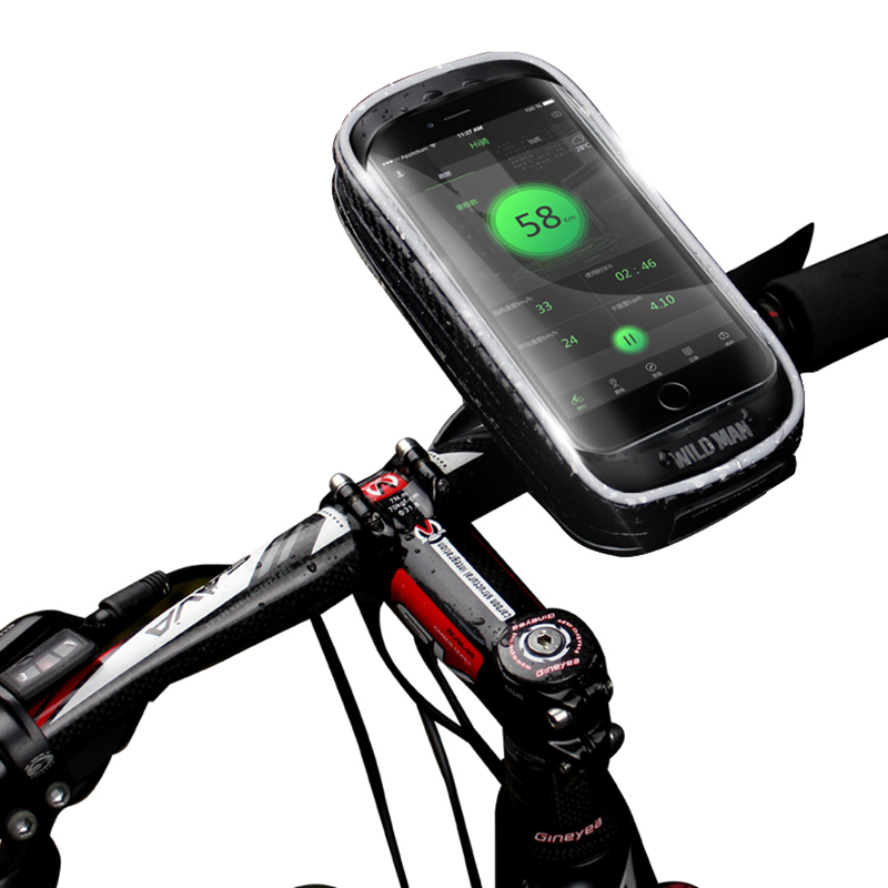 Wholesale WILD MAN H16 Mountain Bicycle Bag Mobile Phone Cycling Touch Screen Holder for GPS Navigator (Black, 6 - 6.5 Inch)