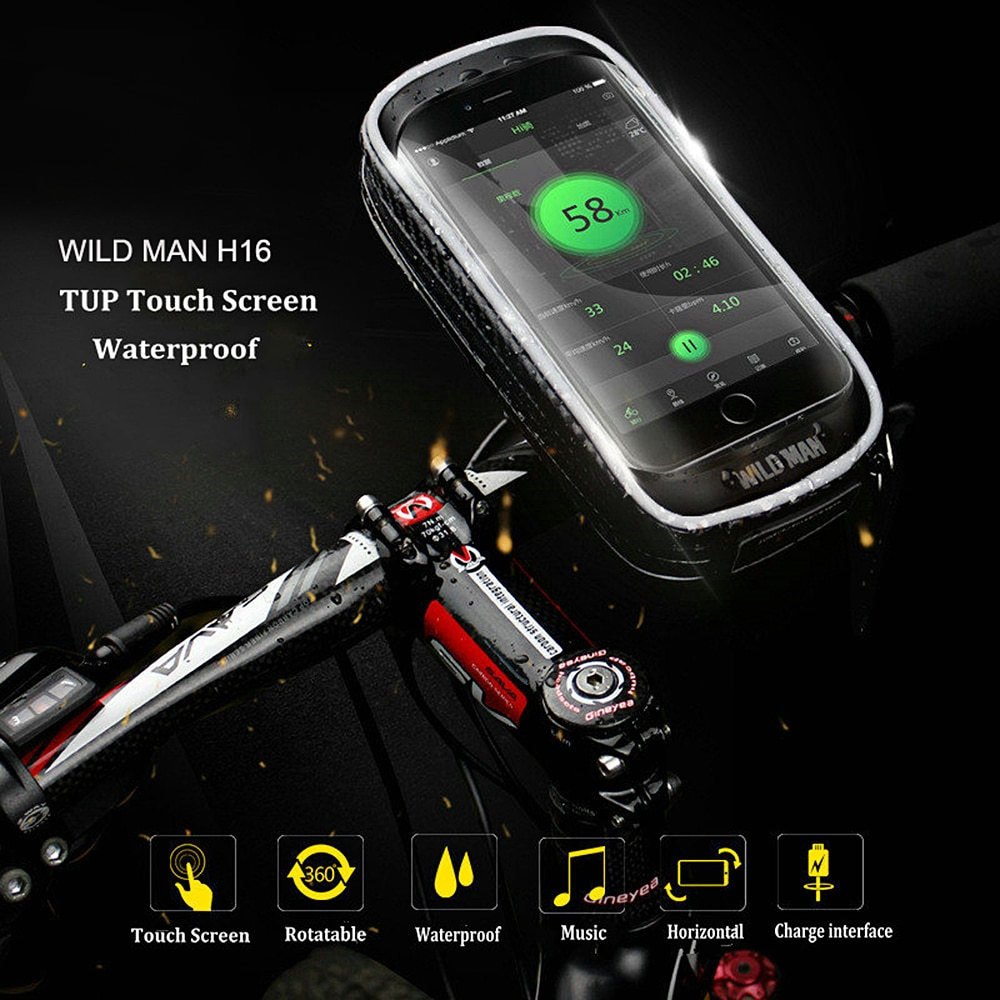 WILD MAN H16 Mountain Bicycle Bag Mobile Phone Cycling Touch Screen Holder for GPS Navigator (Black, 6 - 6.5 Inch)
