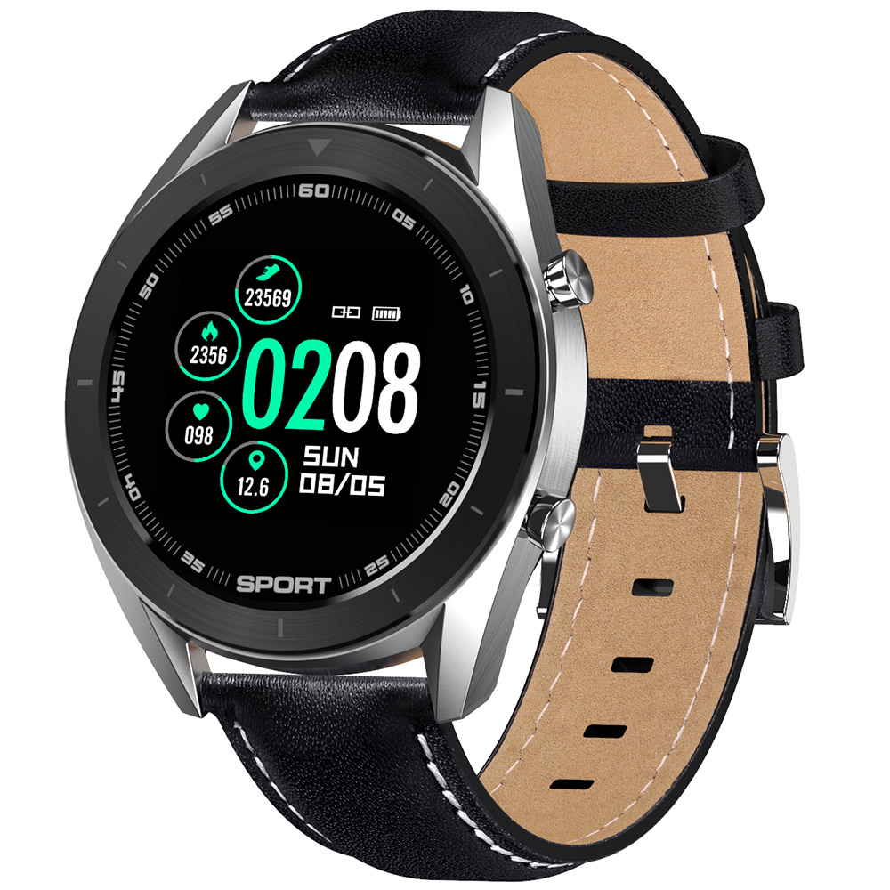 Wholesale DTNO.1 DT99 1.2 inch Full Round Bluetooth Smartwatch Health Care Fitness Tracker IPX8 Waterproof Smart Sports Watch - Black Black+