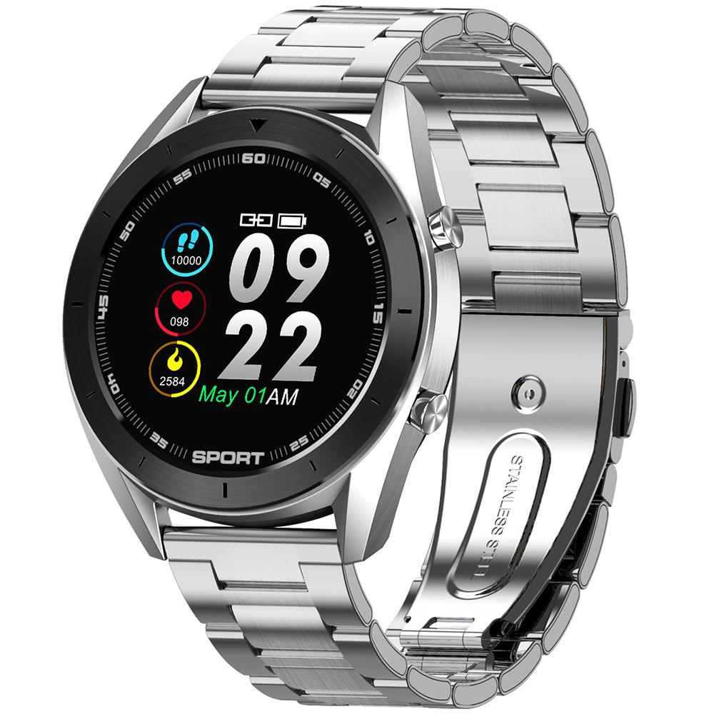 DTNO.1 DT99 Bluetooth Sports Smart Watch (Black + Silver Case, Black Leather Band + Silver Steel Band, Black)