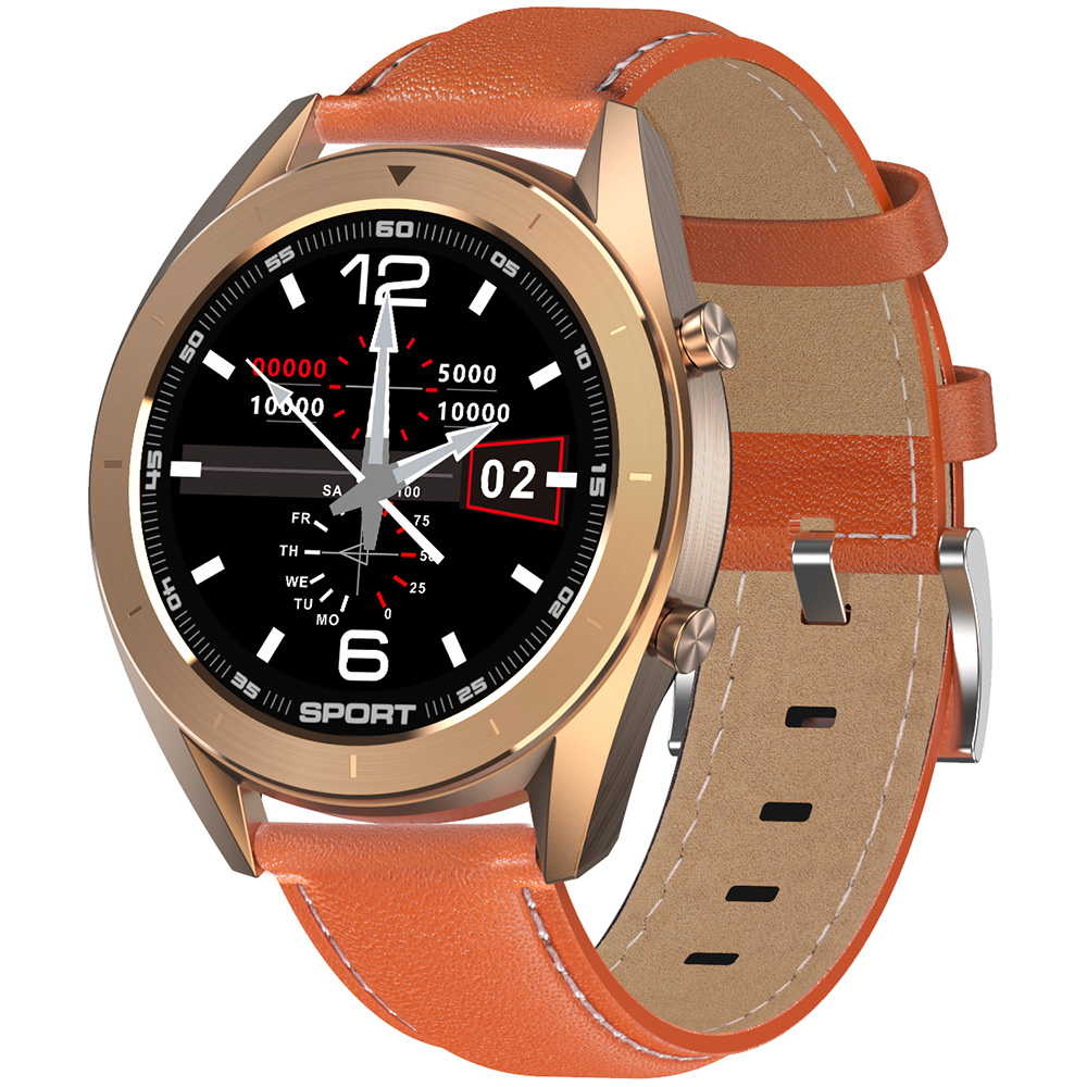 Wholesale DTNO.1 DT99 Bluetooth Sports Smart Watch (Gold Case, Brown Leather Band + Gold Steel Band, Black)