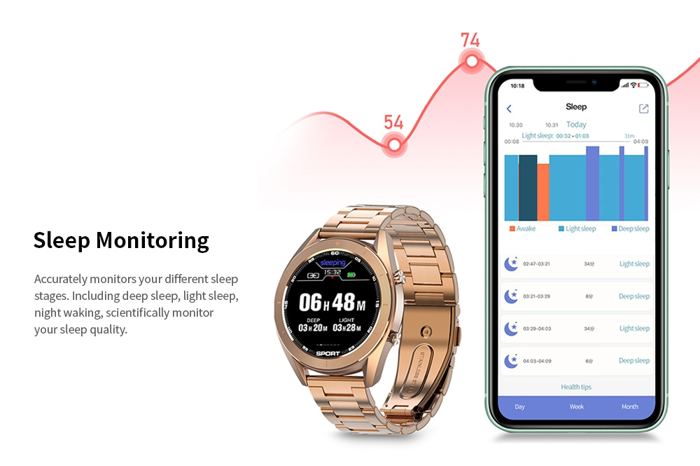 DTNO.1 DT99 Bluetooth Sports Smart Watch (Gold Case, Brown Leather Band + Gold Steel Band, Black)