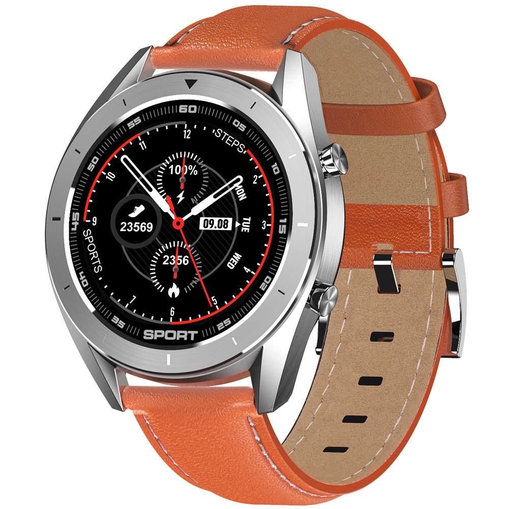 Wholesale DTNO.1 DT99 Bluetooth Sports Smart Watch (Silver Case, Brown Leather Band + Silver Steel Band, Black)