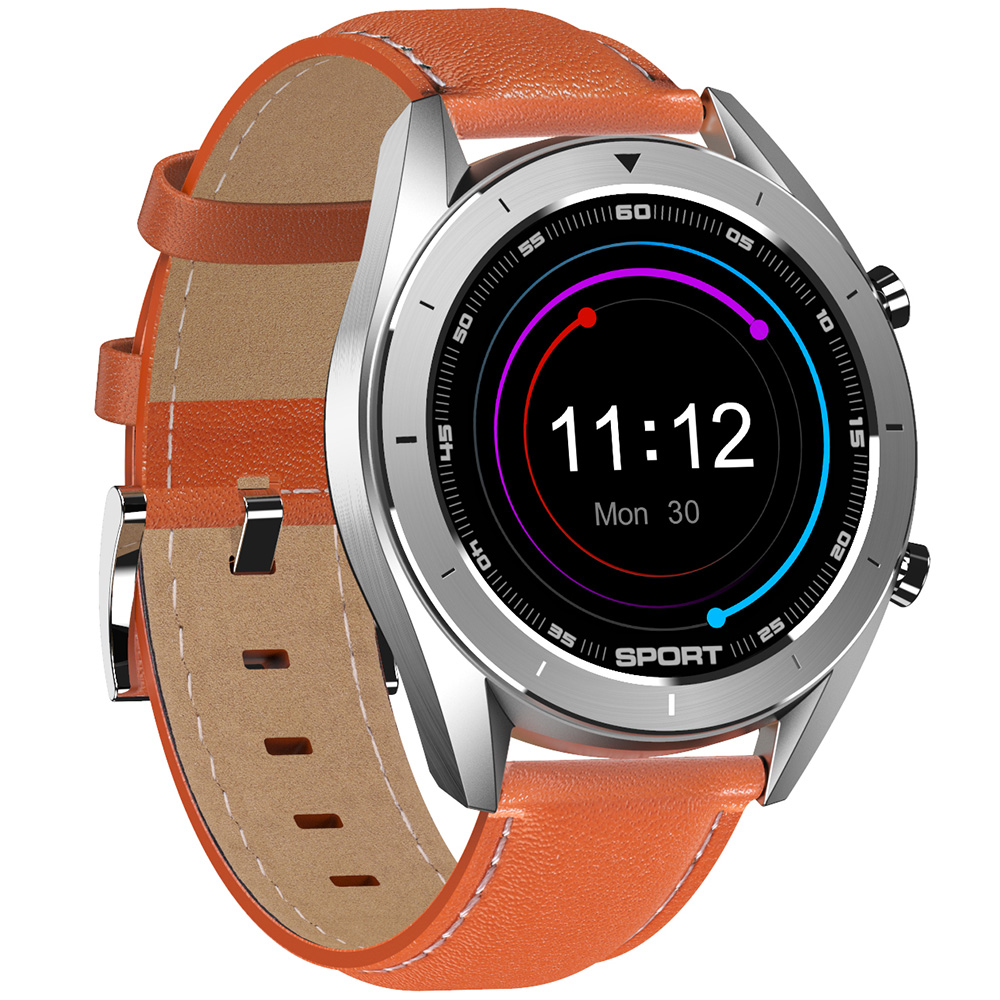 DTNO.1 DT99 Bluetooth Sports Smart Watch (Silver Case, Brown Leather Band + Silver Steel Band, Black)
