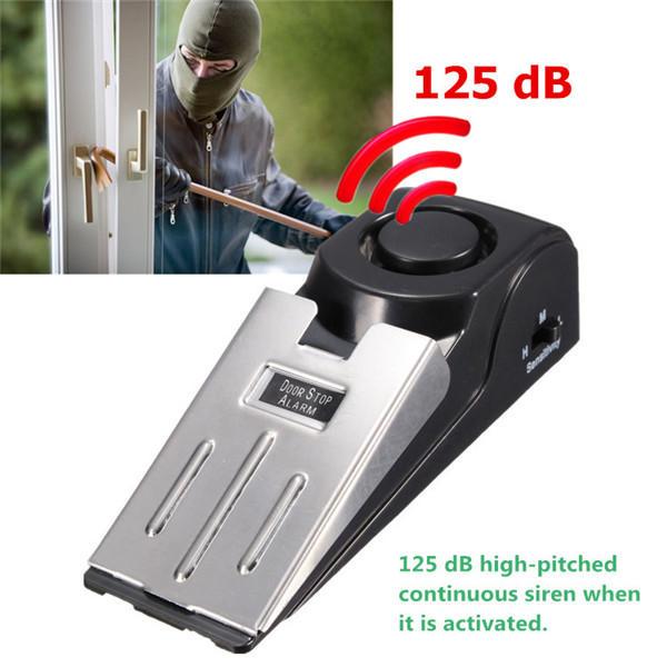 Portable Wedge Door Stop Block System Home Security Burglar Sensors with 125dB Alarm