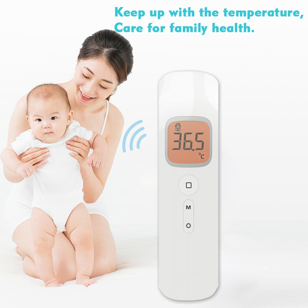 Non-contact Portable Digital Forehead IR Thermometer with Backlit LCD - Temperature Measurement for Body, Object, Room