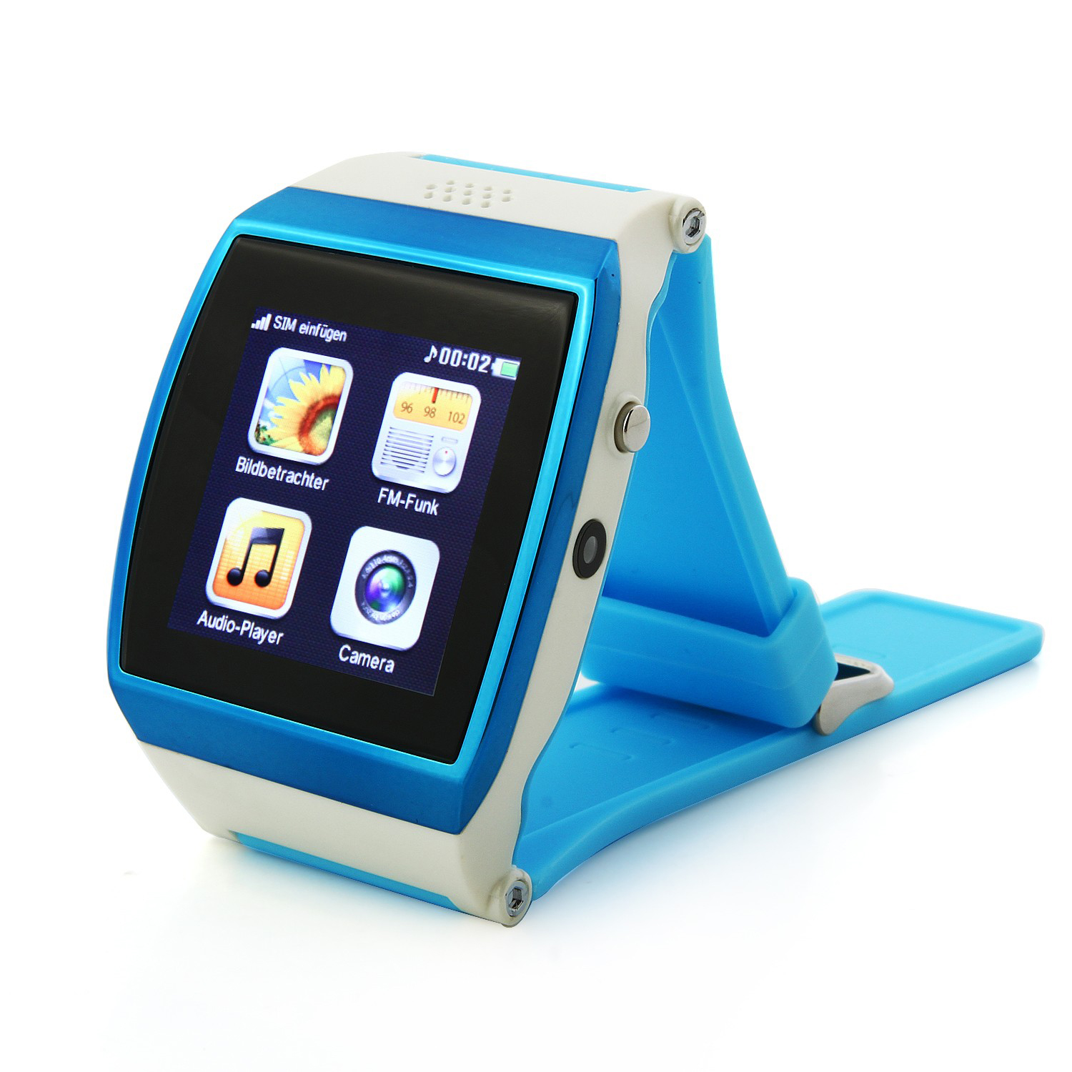 "Wholesale 1.55"" Capacitive IPS Touch Screen Watch Shaped Cell Phone with Bluetooth, FM Radio, Camera, Alarm Clock (Blue)"
