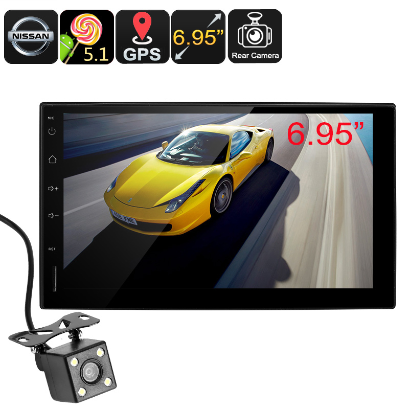 Wholesale 6.95 Inch HD 2 DIN Car Android Media Player W/ GPS, Rearview Camera For Nissan (Bluetooth, Steering Wheel Controls, 16GB)