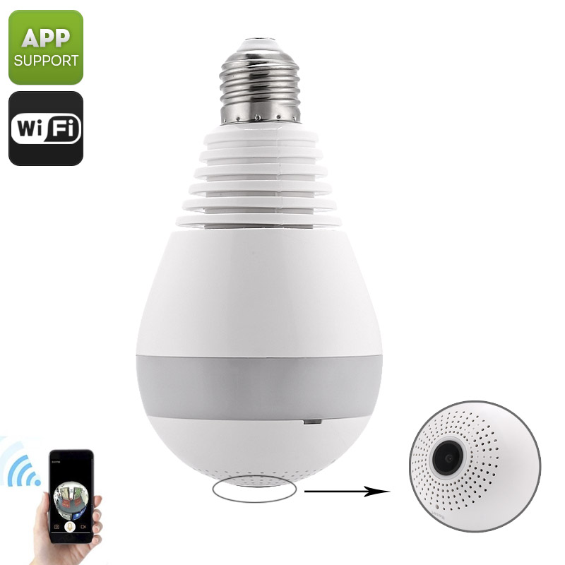 Wholesale E27 Light Bulb + 360 Degree HD Video IP Camera (Motion Detection, IR Night Vision, SD Card Recording)