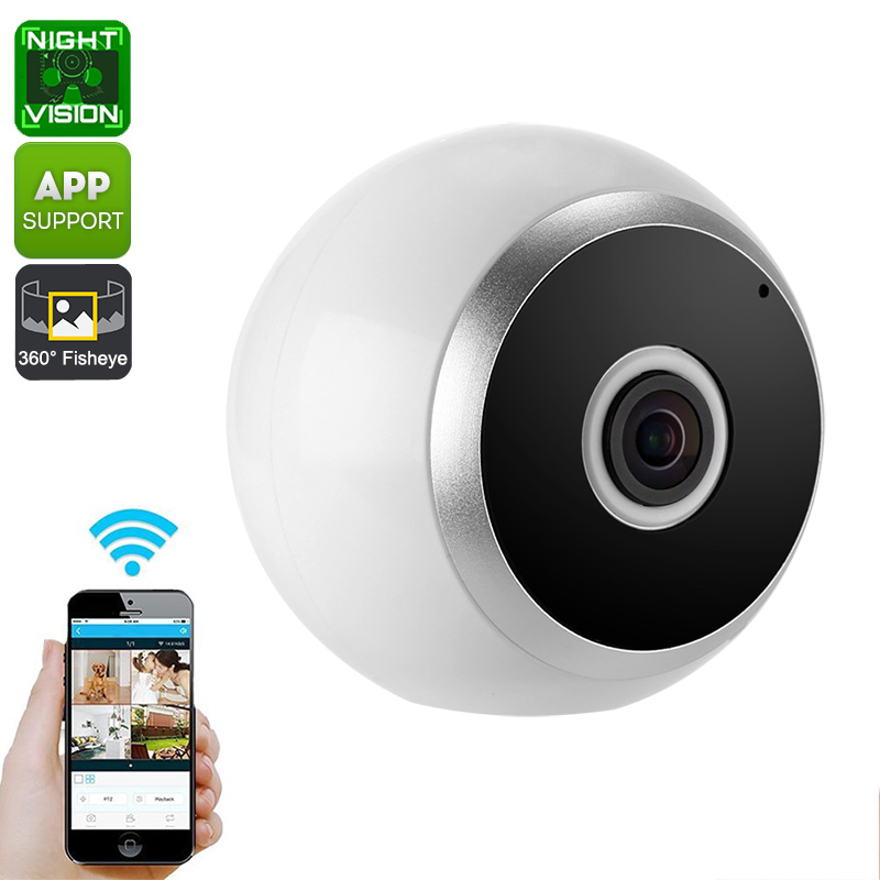 Wholesale 360 Degree Fish Eye WiFi Wireless HD IP Camera (Motion Detection, Night Vision, SD Card Recording)