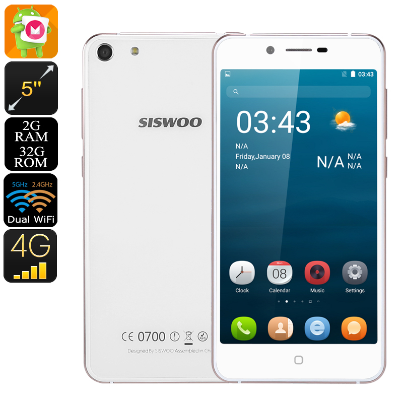 Wholesale Siswoo C5 Blade 5 Inch HD 4G Android Phone with 7.2mm CNC Metal Dual Glass (2GB RAM, Dual SIM, 32GB, White)