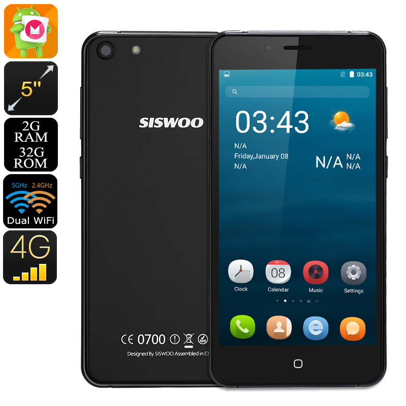 Wholesale Siswoo C5 Blade 5 Inch HD 4G Android Phone with 7.2mm CNC Metal Dual Glass (2GB RAM, Dual SIM, 32GB, Black)