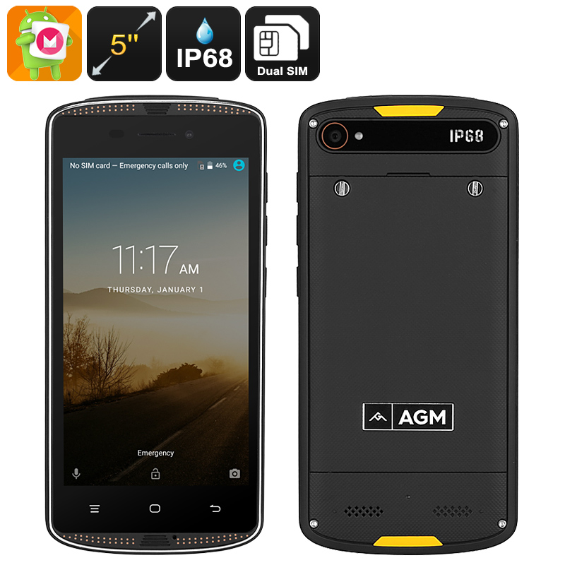 Wholesale AGM X1 Mini IP68 Rugged Android Phone (Quad-Core CPU, 2GB RAM, 5 Inch, Dual-IMEI)