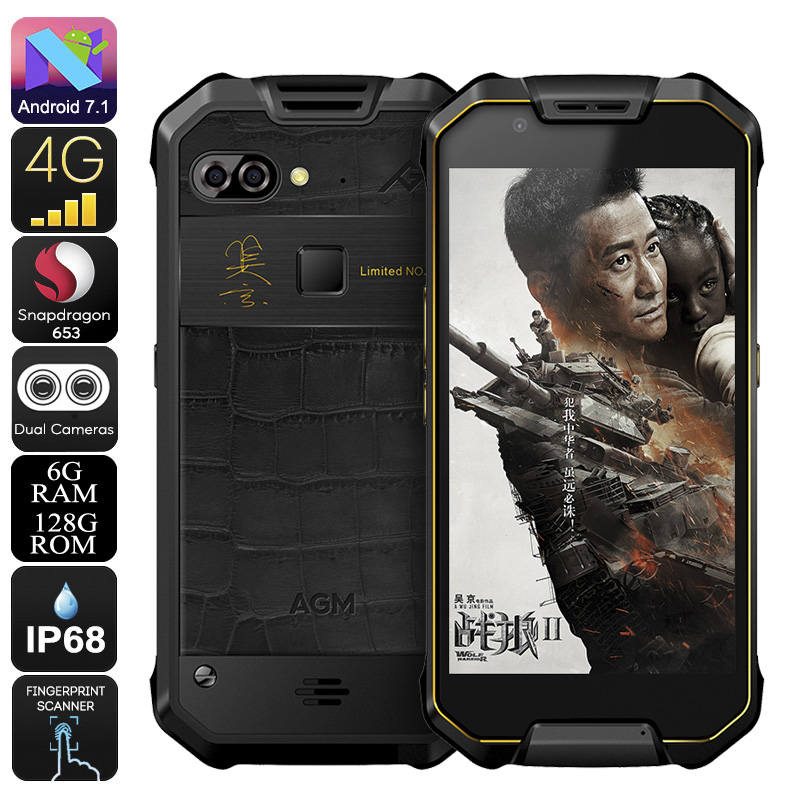 Wholesale AGM X2 Rugged Android Phone - 5.5-Inch FHD, IP68, Android 7.1, Octa-Core CPU, 6GB RAM, 128GB ROM, Dual-IMEI, 4G (Gold)
