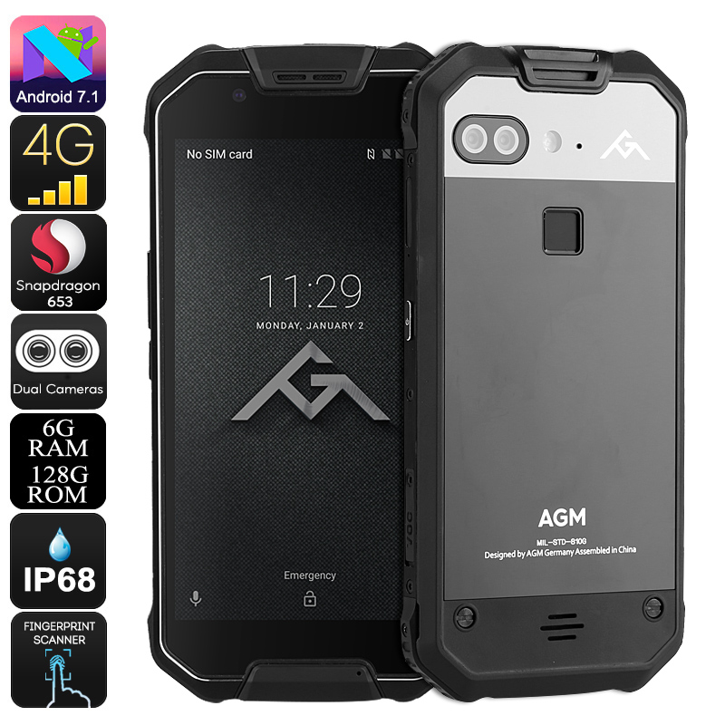 Wholesale AGM X2 5.5 Inch Android 7.1 4G Dual-IMEI Rugged Phone (Octa-Core CPU, 6GB RAM, IP68 Waterproof, 12MP Dual-Camera, 128GB)