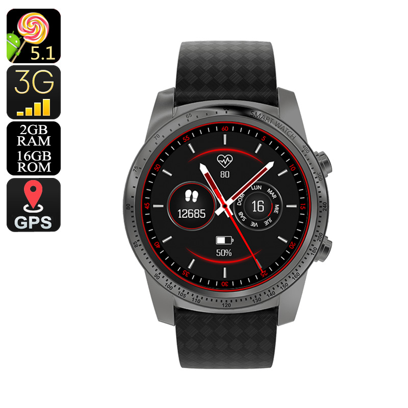 Wholesale AllCall W1 3G Android Smart Watch Phone (Quad-Core CPU, Bluetooth, WiFi, Pedometer, Grey)