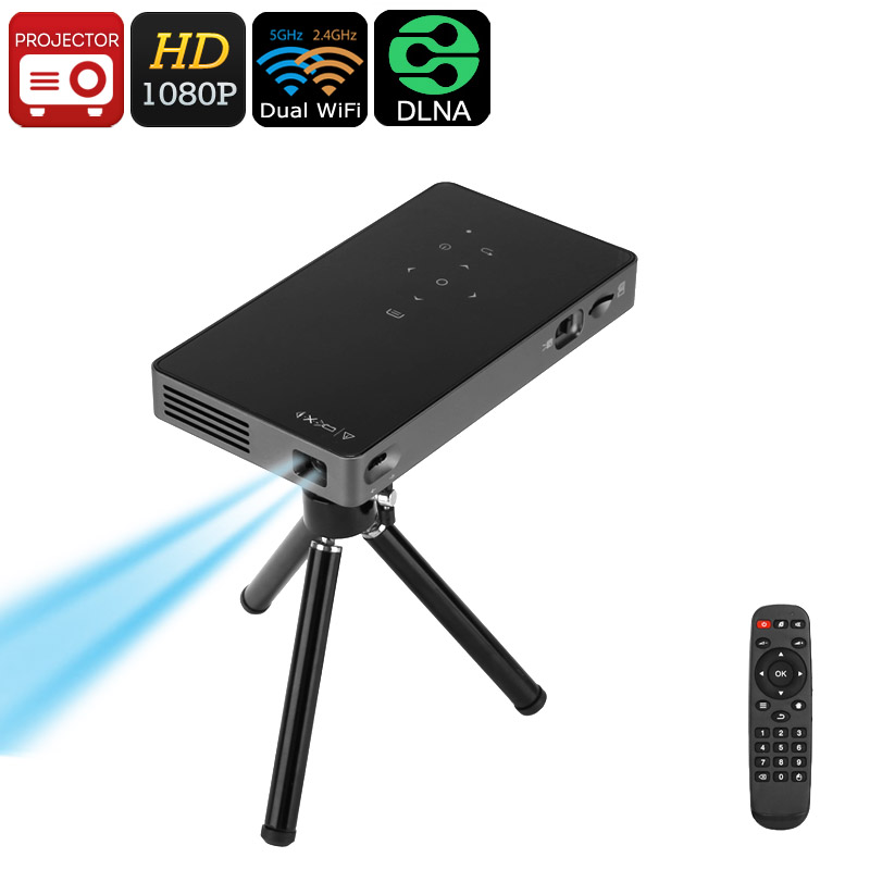 Wholesale 1080p Android DLP Mini Projector (Dual-Band WiFi, Bluetooth, 2W