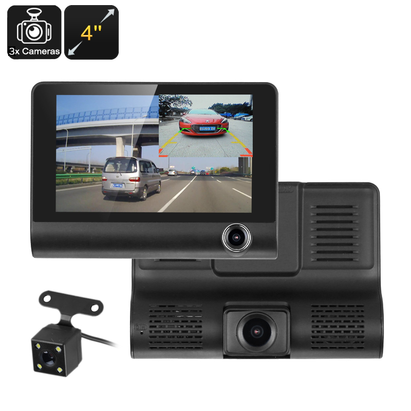Wholesale Car DVR Kit (3 Cameras, G-Sensor, Loop Recording, Rear View Parking Cam, 4-Inch Display, 320mAh, 1W Speaker)