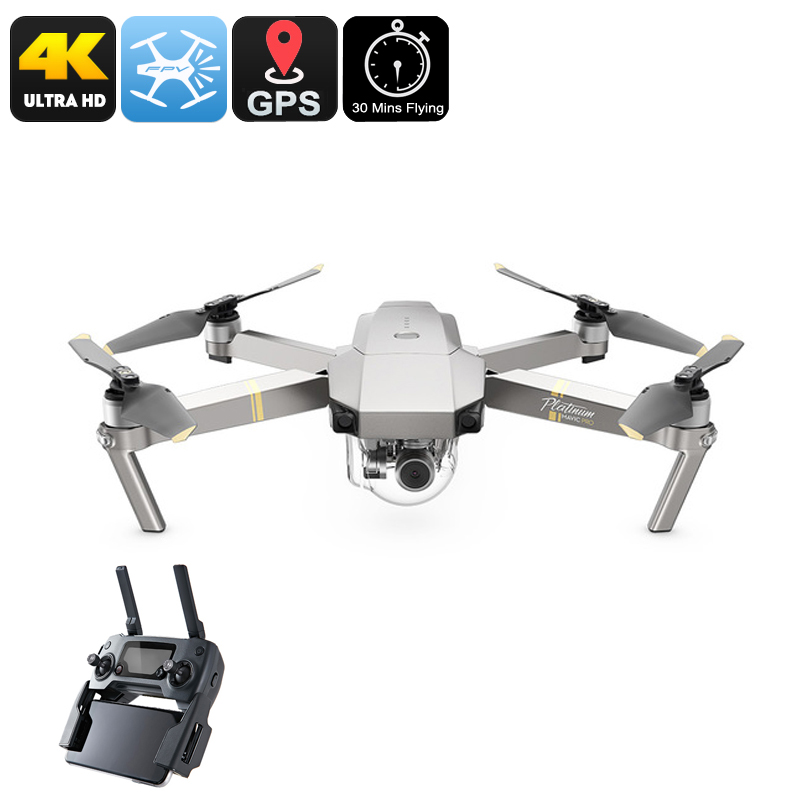 Wholesale DJI Mavic Pro Mini Platinum Drone - 30 Minutes Flight Time, 65km/h, 15KM Range, GPS, 4K Camera, Different Flight Modes, App