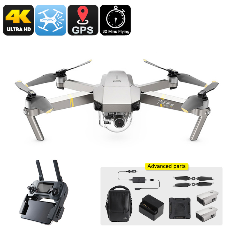 Wholesale DJI Mavic Pro Platinum Drone Combo - 65km/h, 4K Camera, 30 Minutes Flight Time, 15KM Range, GPS, Different Flight Modes, App