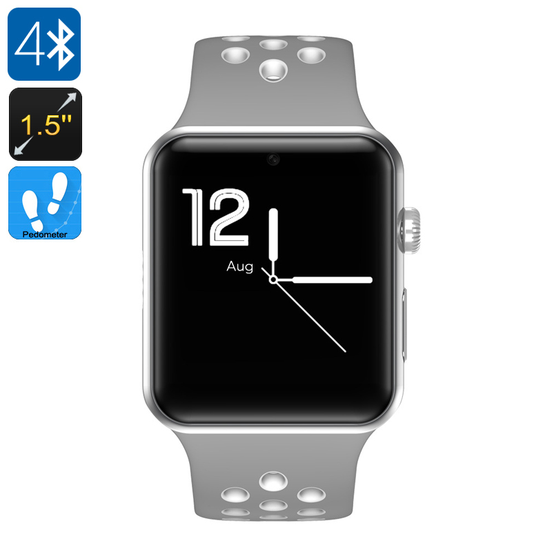 Wholesale DM09 Plus Bluetooth 4.0 Smart Watch Phone (1.5 Inch Touchscreen, 1 SIM, SMS, Calls, Pedometer, Gray + White)