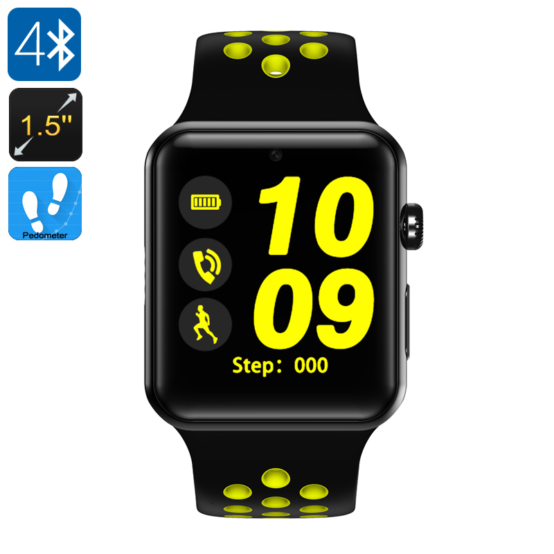 Wholesale DM09 Plus 1.5 Inch Touchscreen Bluetooth 4.0 GSM Smart Watch Phone with Pedometer - Black + Yellow