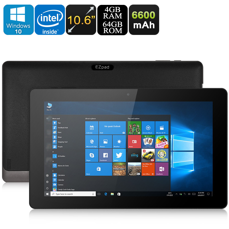 Wholesale EZpad 4S Pro 10.6 Inch Windows 10 Tablet PC (Z8350 Quad-Core CPU, 4GB RAM, Bluetooth, WiFi, 64GB, 6600mAh)
