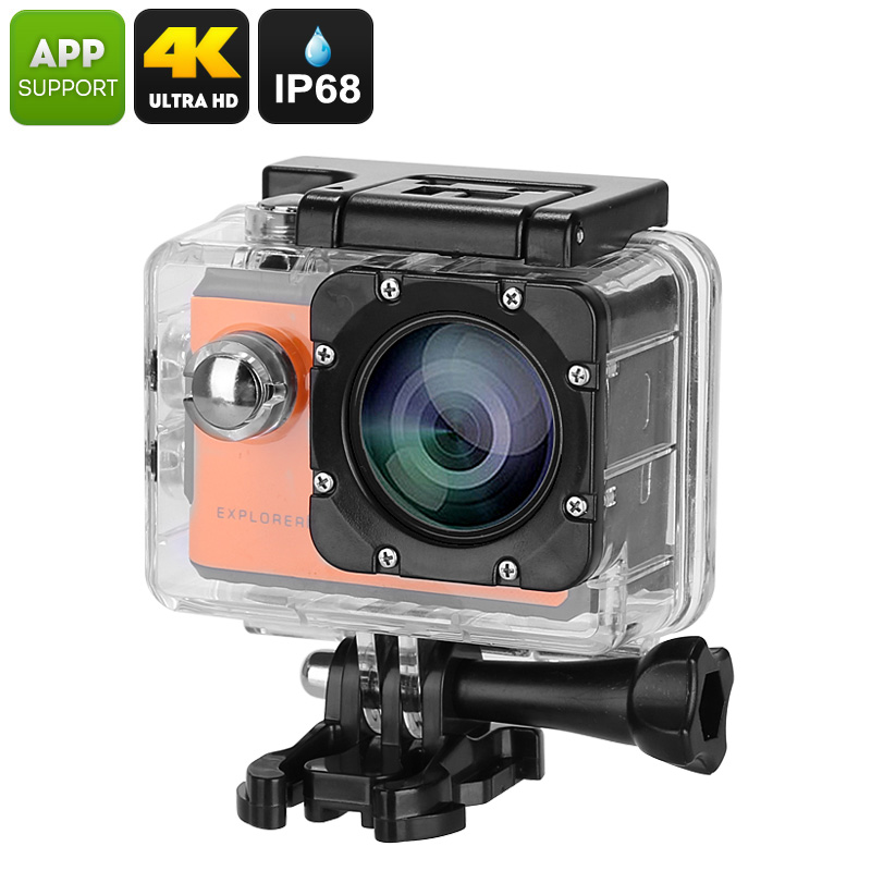 Wholesale Explorer 2C Action Camera (Novatek Chipset, Sony Sensor, Wide Angle Lens, 4K Recording, 2 Inch Touch Screen, Orange)
