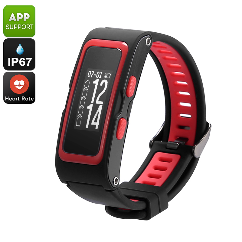Wholesale Fitness Tracker Bracelet (Heart Rate, Pedometer, GPS, IP67 Waterproof, Real-Time Altimeter, Pressure, Temperature, Red)
