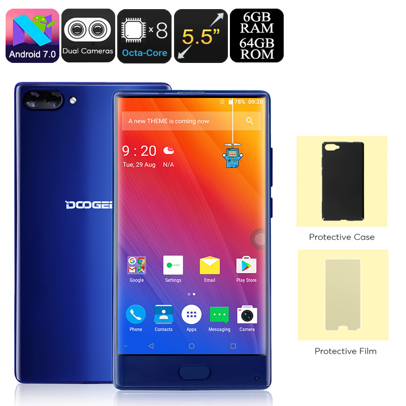 Wholesale Doogee Mix Android Phone (Android 7.0, Dual-IMEI, 4G, Octa-Core, 6GB RAM, 5.5-Inch Small Bezel Display, Blue)