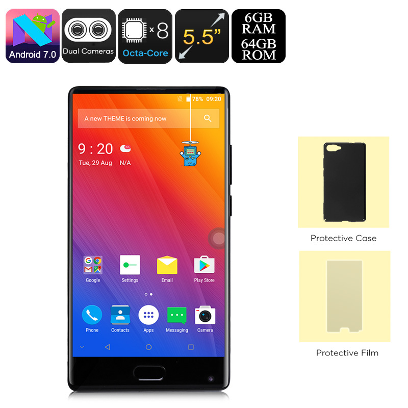 Wholesale Doogee Mix Android Phone (Octa-Core, 6GB RAM, Dual-IMEI, 4G, Android 7.0, 5.5-Inch Small Bezel Display, Black)