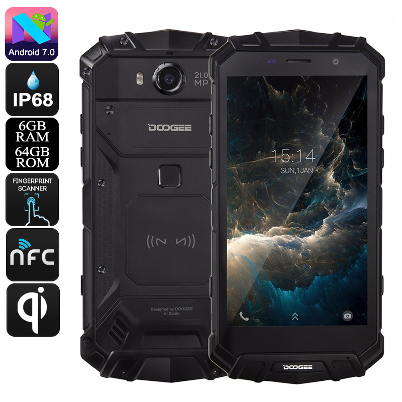 Wholesale Doogee S60 Octa-Core QI Wireless Charging Android Phone (IP68 Waterproof, 5.2 Inch, 6GB RAM, 21MP Camera, 64GB, Black)