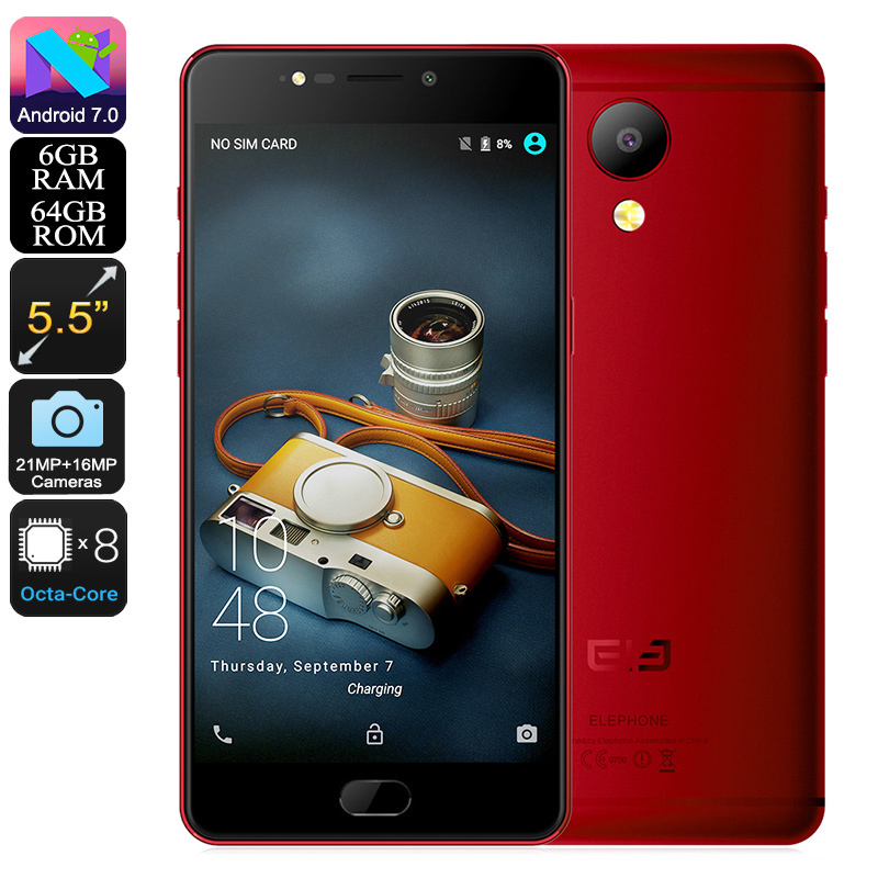 Wholesale Elephone P8 Android Phone - Android 7.0, FHD Display, Helio P25 CPU, 6GB RAM, 4G, Dual-IMEI, 21MP Camera (Red)