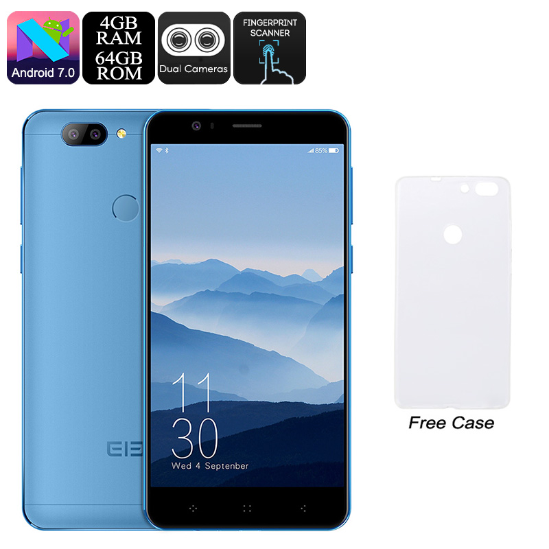 Wholesale HK Warehouse Elephone P8 Mini Android Phone - Android 7.0, Octa-Core CPU, 4GB RAM, Dual-IMEI, 5-Inch FHD, 13MP Dual-Cam (Blue)