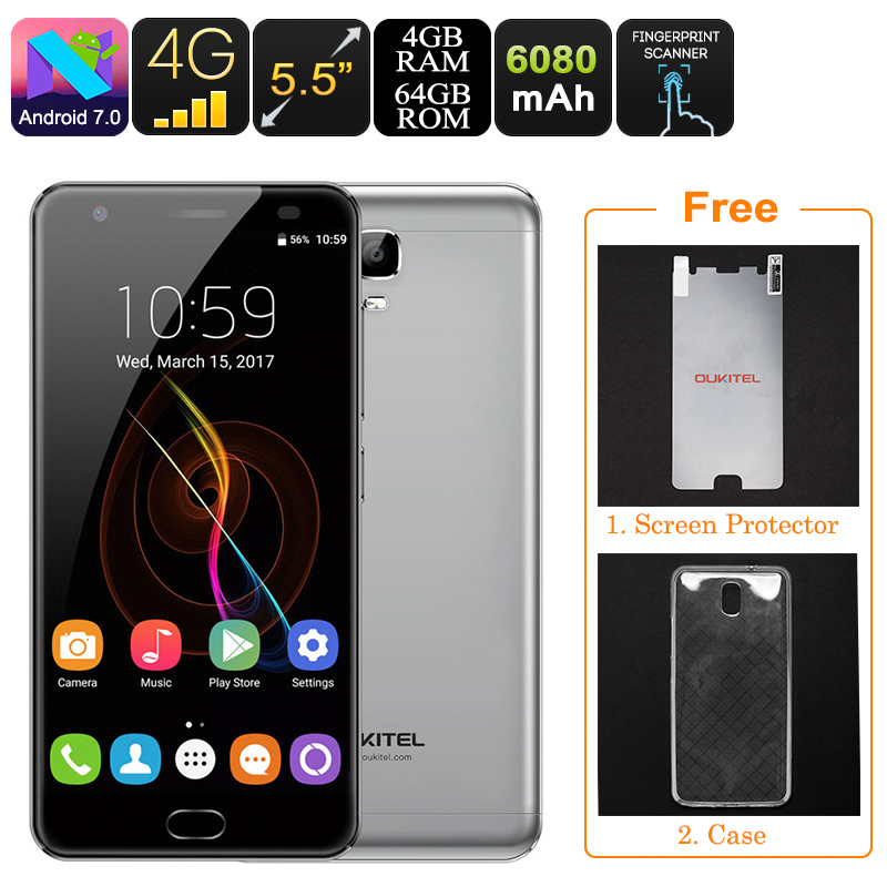 Wholesale Oukitel K6000 Plus 1080p Android Phone (Dual SIM, OTG, 6080mAh, Octa-Core CPU, 4GB RAM, Grey)