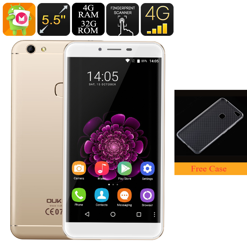 Wholesale HK Warehouse Oukitel U15S Android Phone - Octa-Core CPU, 4GB RAM, 5.5-Inch FHD, Dual-IMEI, 4G, 13MP Camera (Gold)