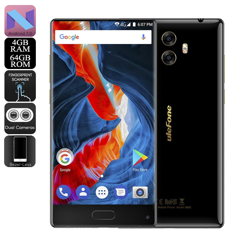 Wholesale HK Warehouse Ulefone MIX Android Phone - Android 7.0, Bezel-Less, Dual-IMEI, 4G, 13MP Dual-Rear Camera, 4GB RAM (Black)