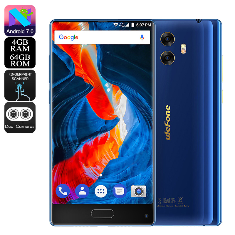 Wholesale Ulefone MIX 5.5 Inch Bezel-Less 4G Android Phone (Dual SIM, 13MP Dual-Rear Camera, 4GB RAM, 64GB, Blue)